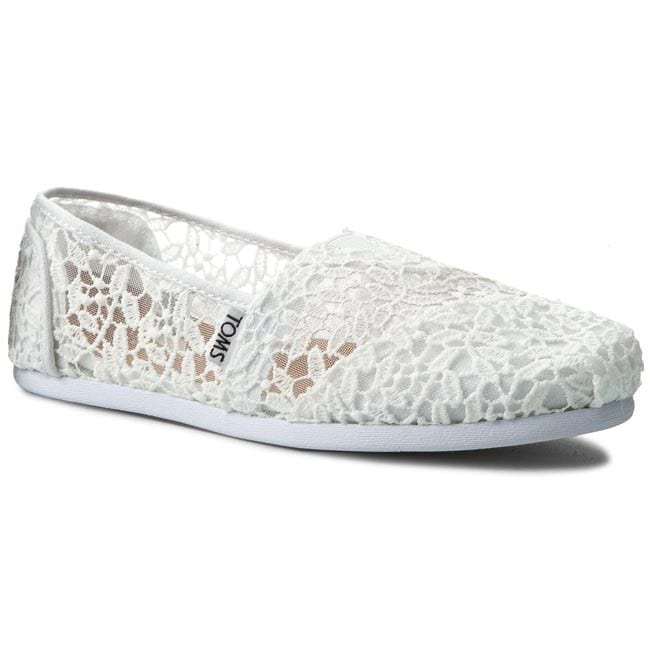 TOMS Classic White Lace Leaves Senter Sko Sport and